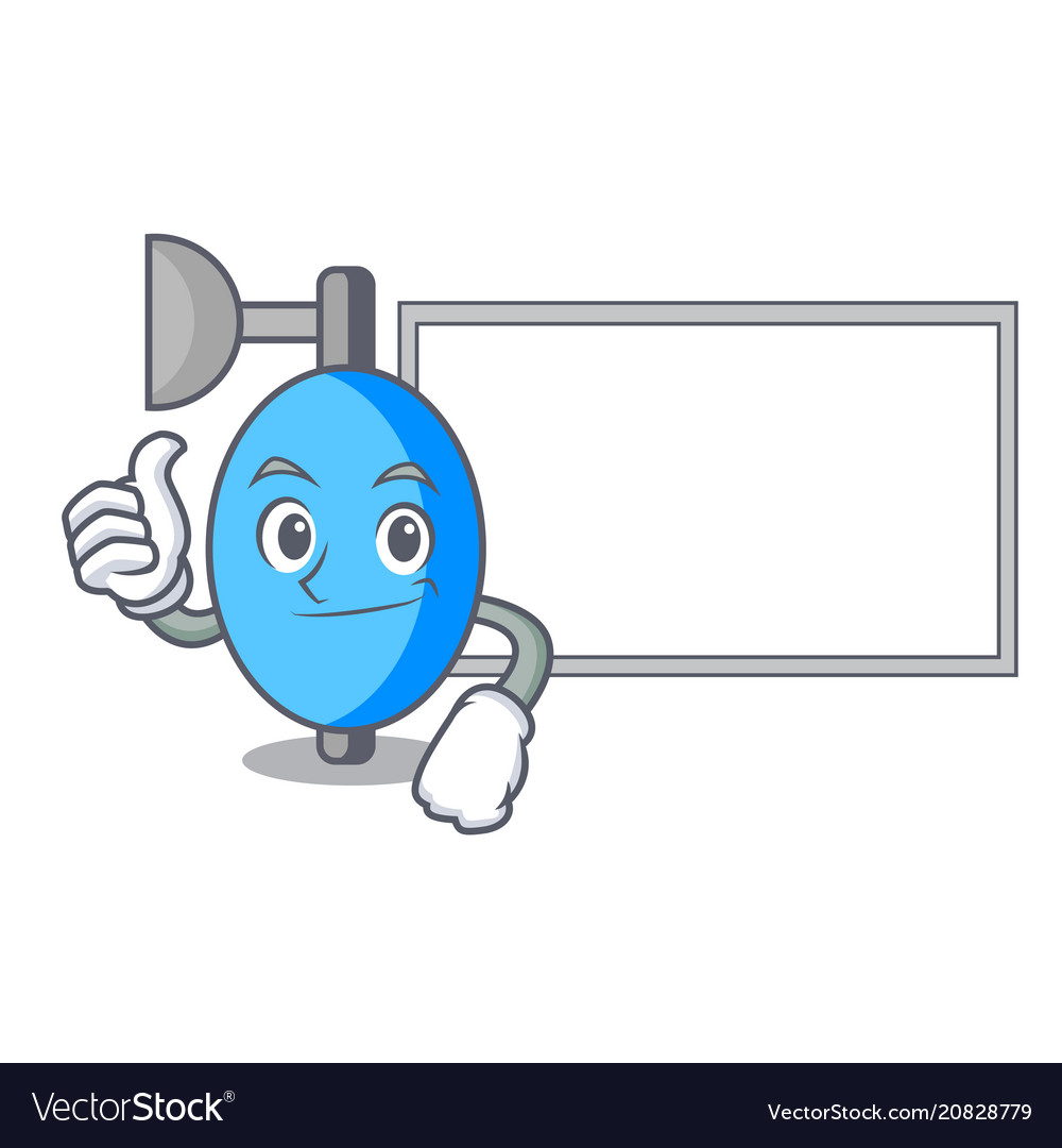 Thumbs Up With Board Ambu Bag Character Cartoon Vector Image