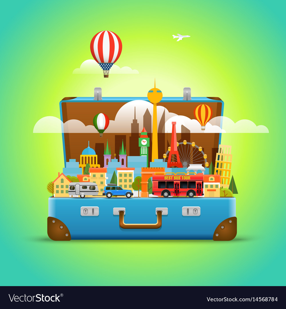 Around the world concept modern cityscape travel vector image