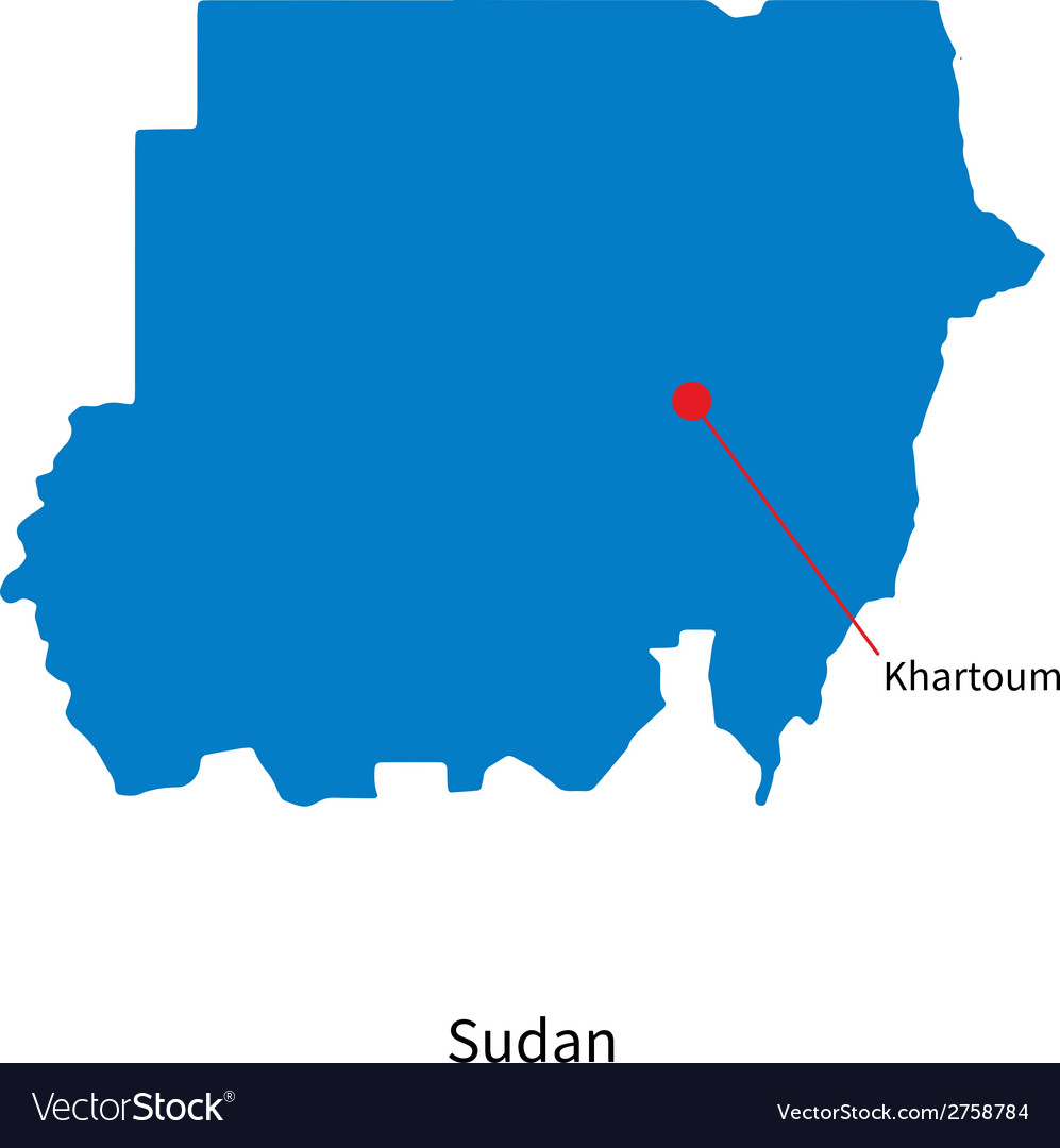 Detailed map of Sudan and capital city Khartoum vector image