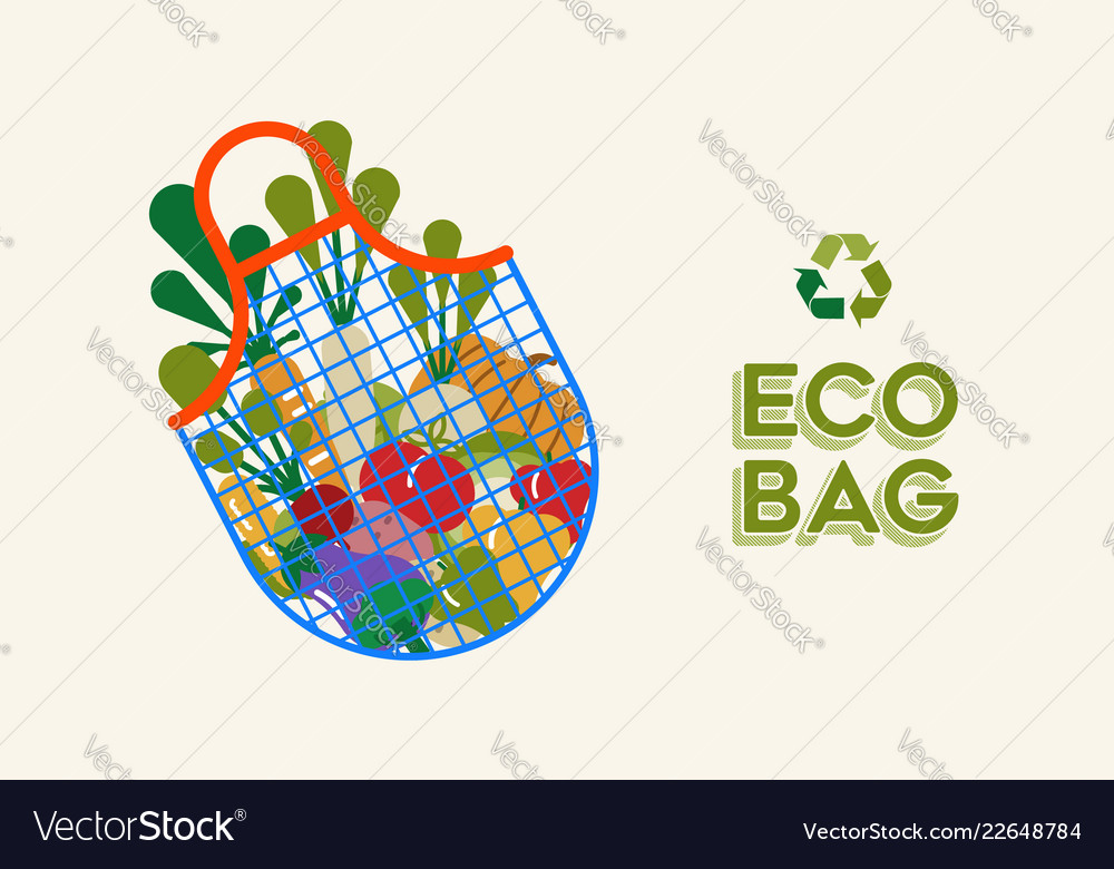 Eco grocery bag and vegetables for ecology concept