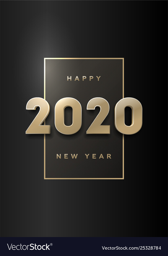 Happy new year banner with gold 3d numbers 2020