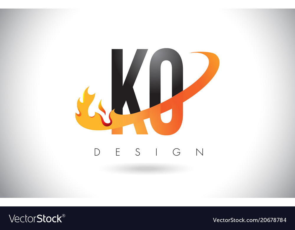 Ko k o letter logo with fire flames design and