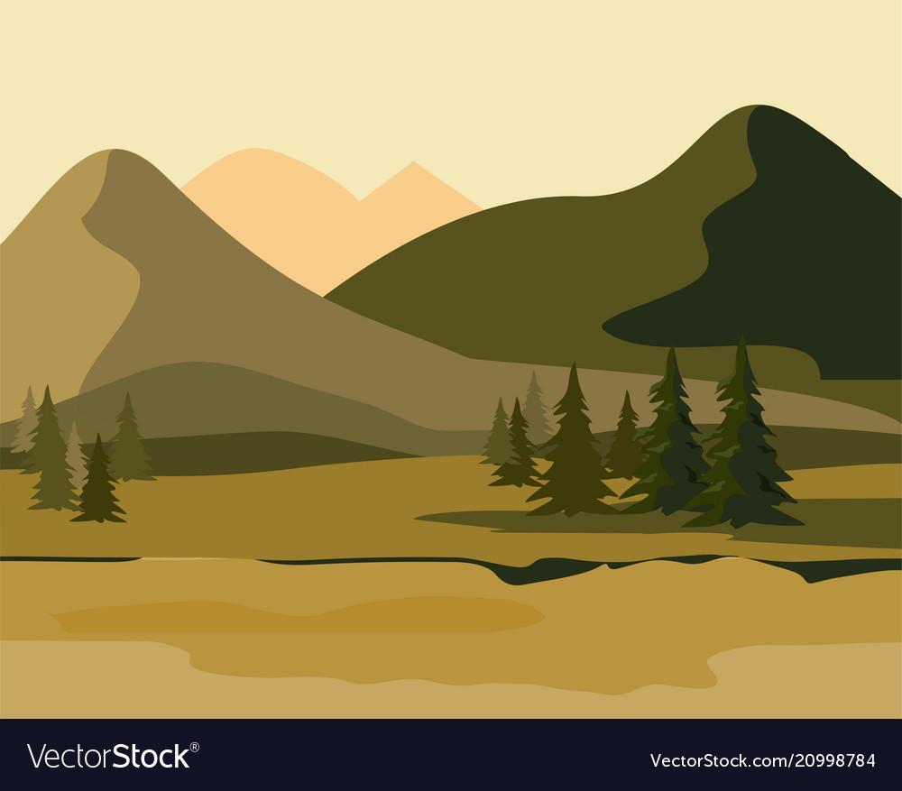 Layers of mountain landscape with fir forest