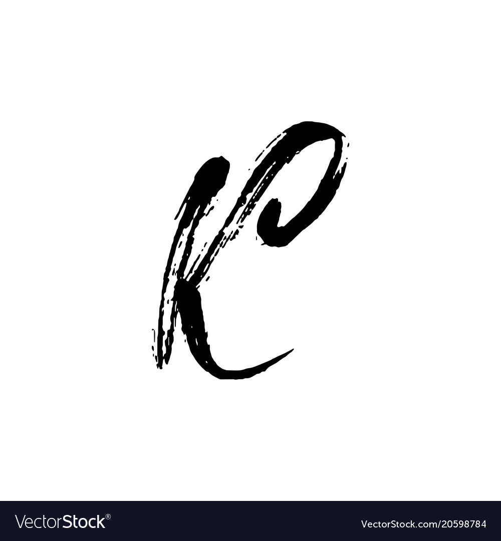 letter k handwritten by dry brush rough strokes vector image