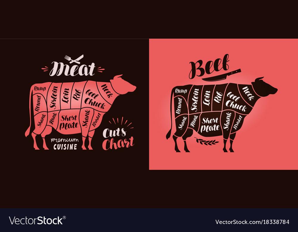 Meat cut charts food butcher shop beef concept