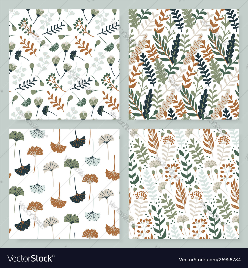 Modern seamless pattern with leaves flowers and