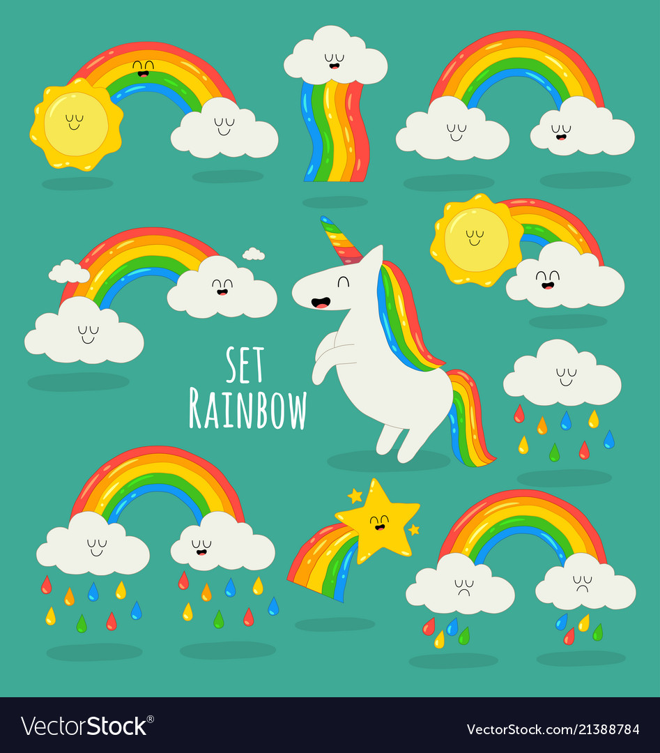 Rainbow among the clouds and unicorn