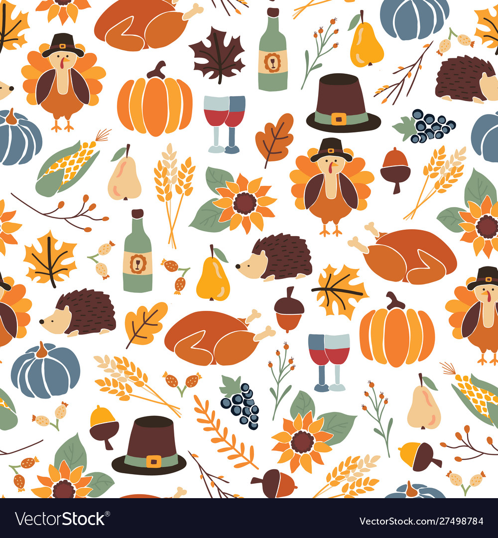 Seamless thanksgiving day pattern with