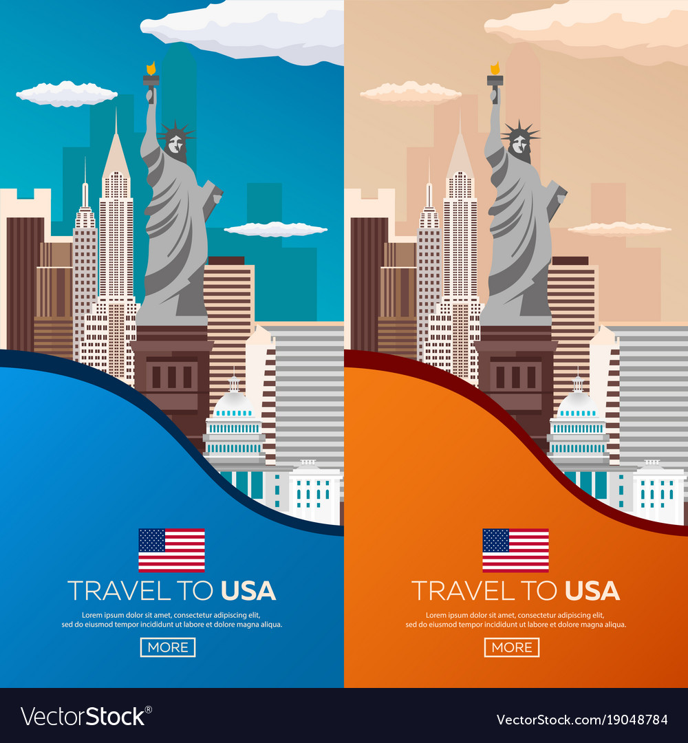 Set travel to usa new york poster skyline statue