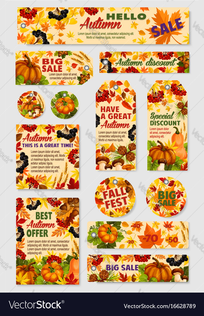 Autumn sale tag discount offer label and card set