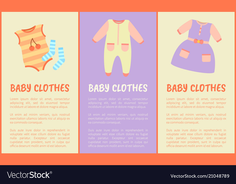 ceb94d5c4 Baby clothes and text sample Royalty Free Vector Image