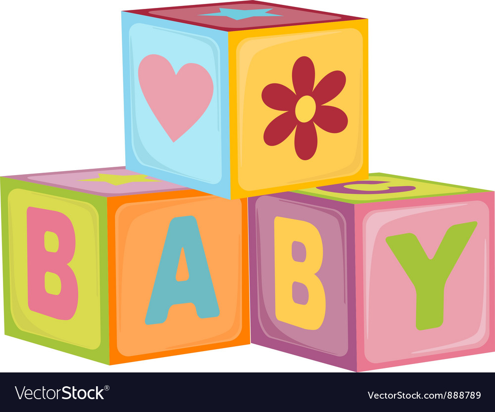 Babys letter cubes vector image