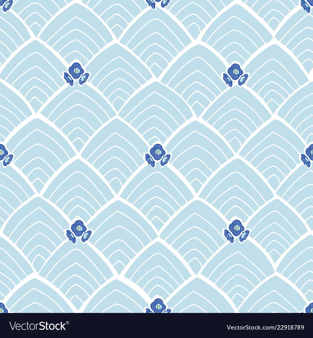 Blue abstract pattern with flowers