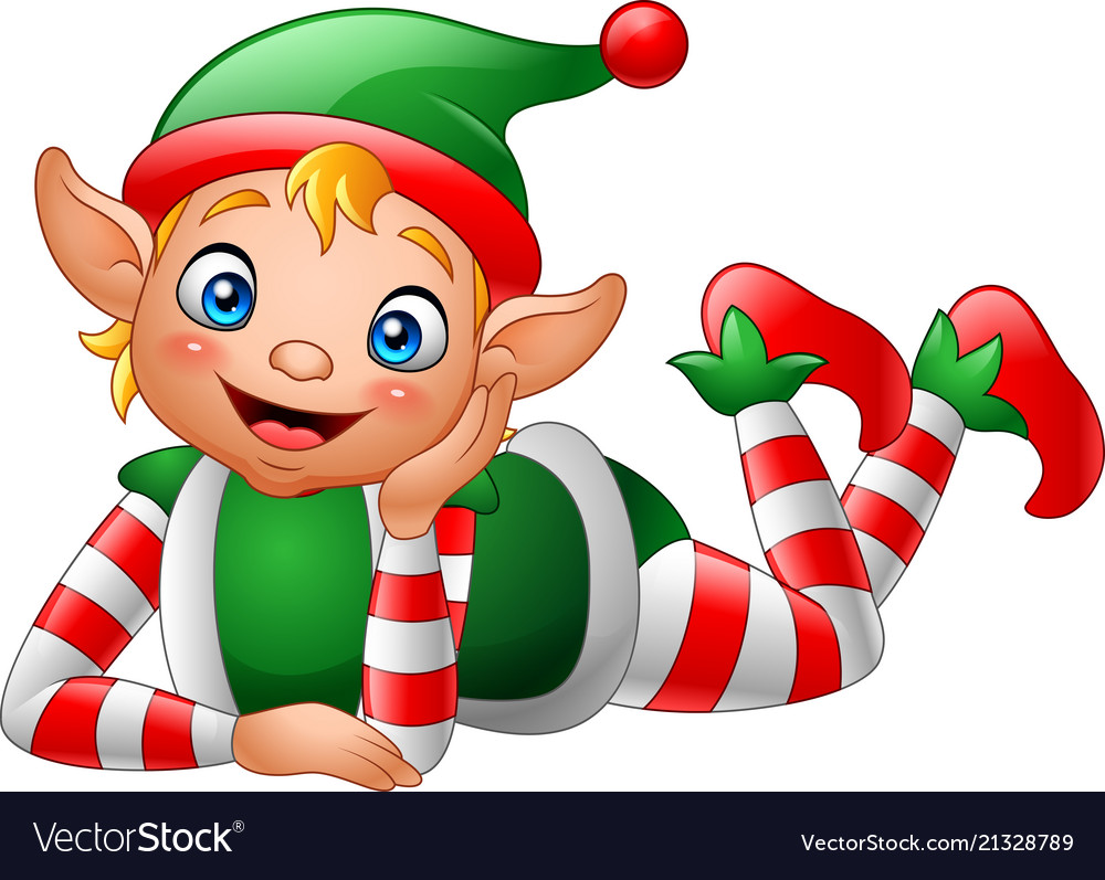 Cartoon elf lying on the floor
