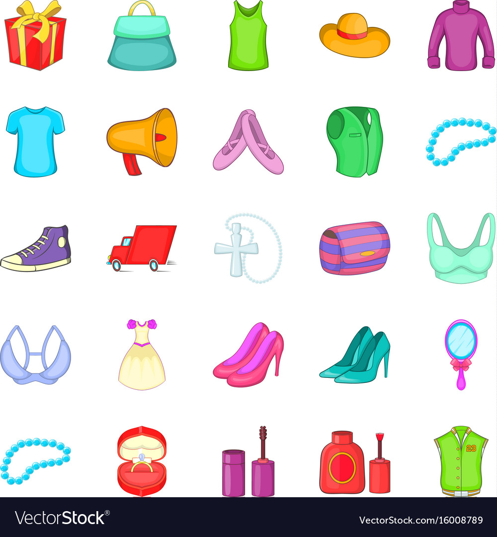 Clothing icons set cartoon style