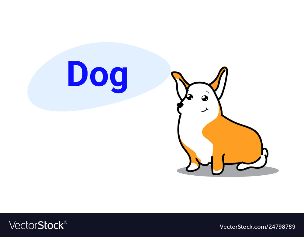 Cute dog cartoon comic character with smiling face
