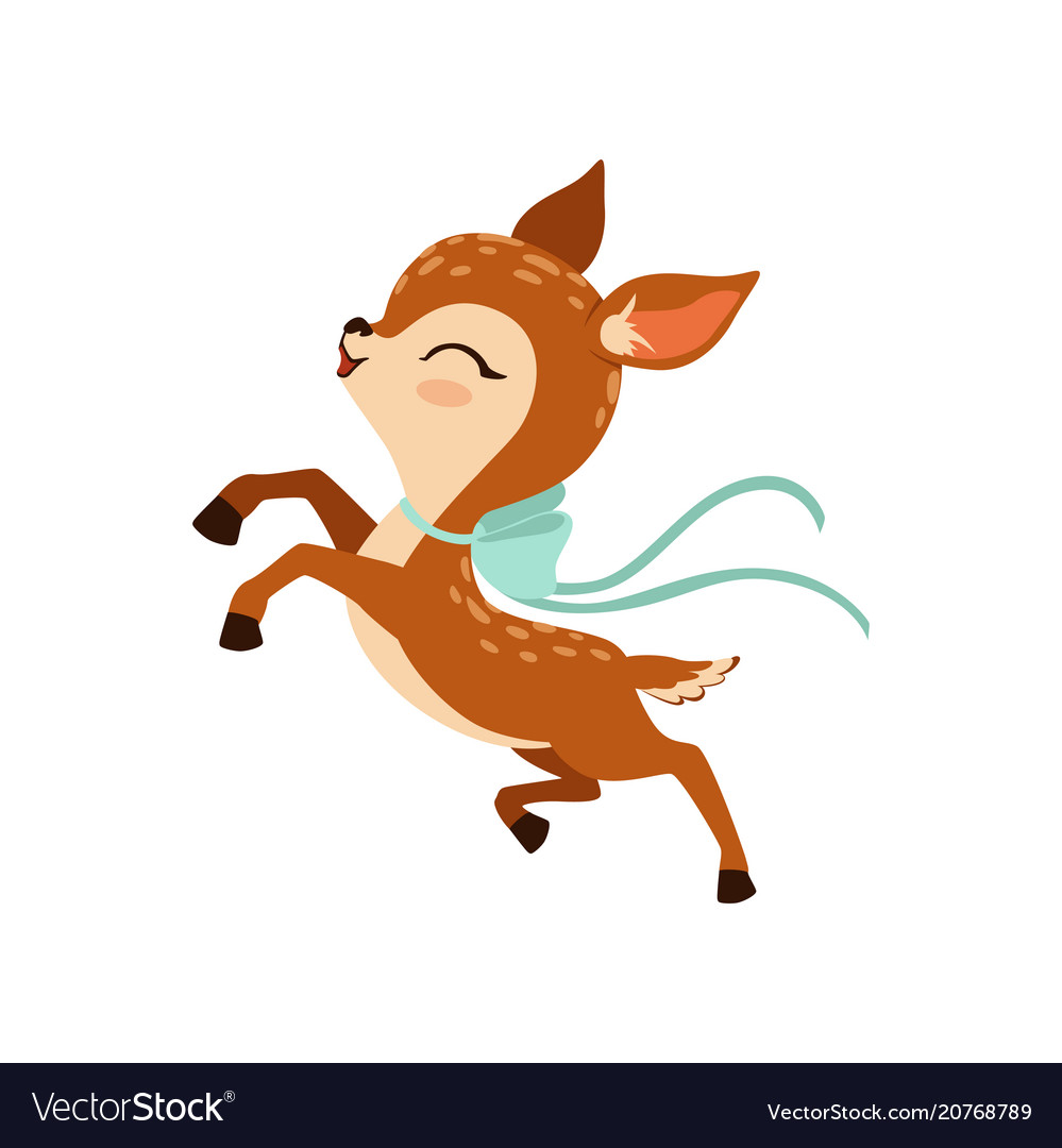 Cute little fawn character with bow on his neck