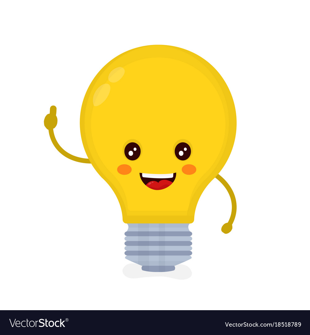 Cute smiling happy light bulb have idea