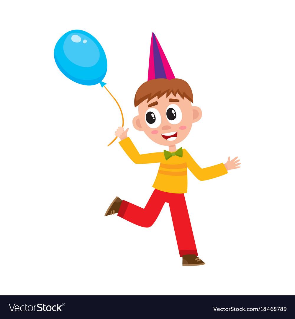 Flat boy running with air balloon