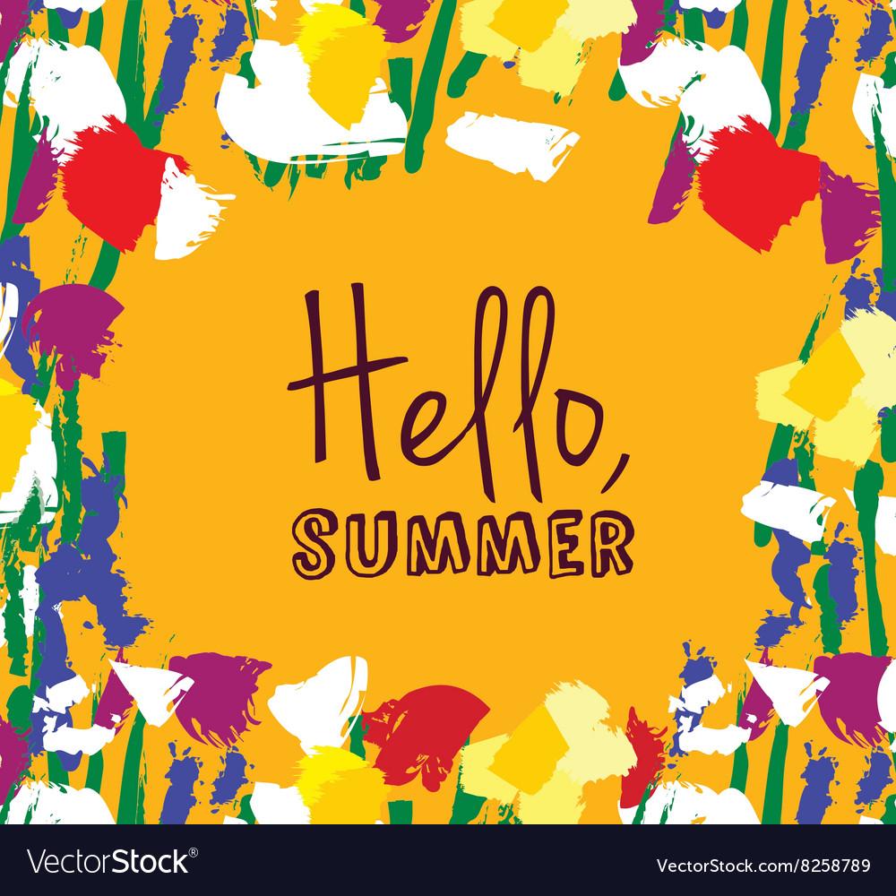 Flowers frame hello summer sign card
