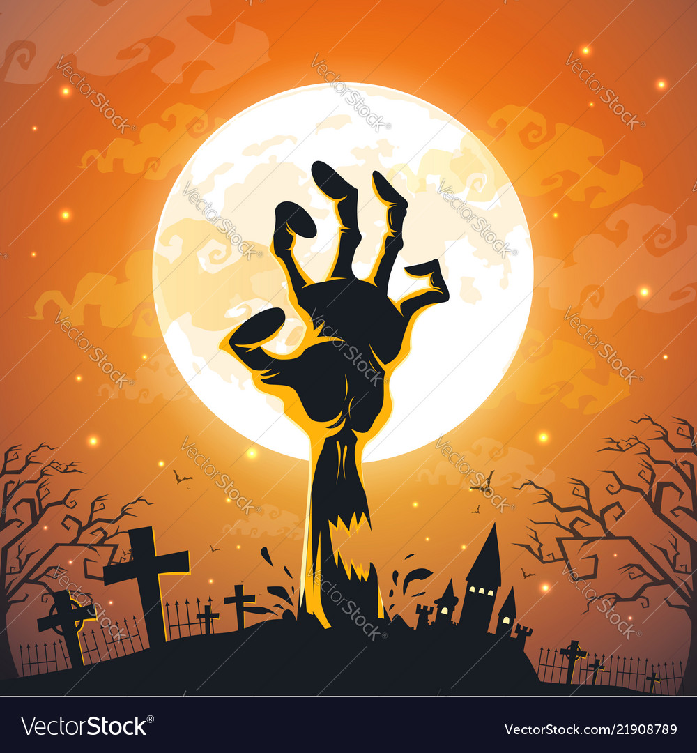 Halloween background with zombie hands on full