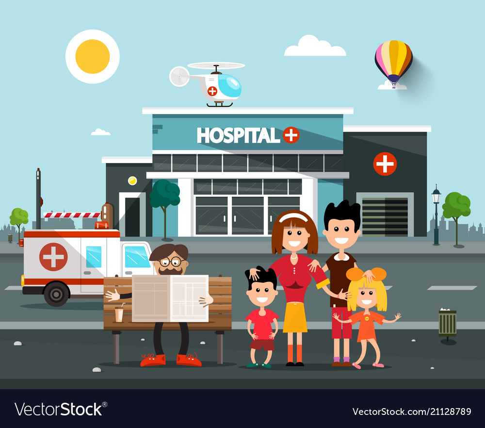 Happy family in front of hospital building with