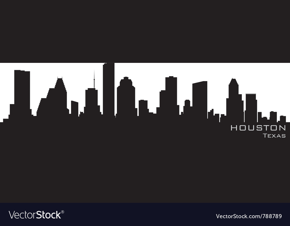 Houston texas skyline detailed silhouette