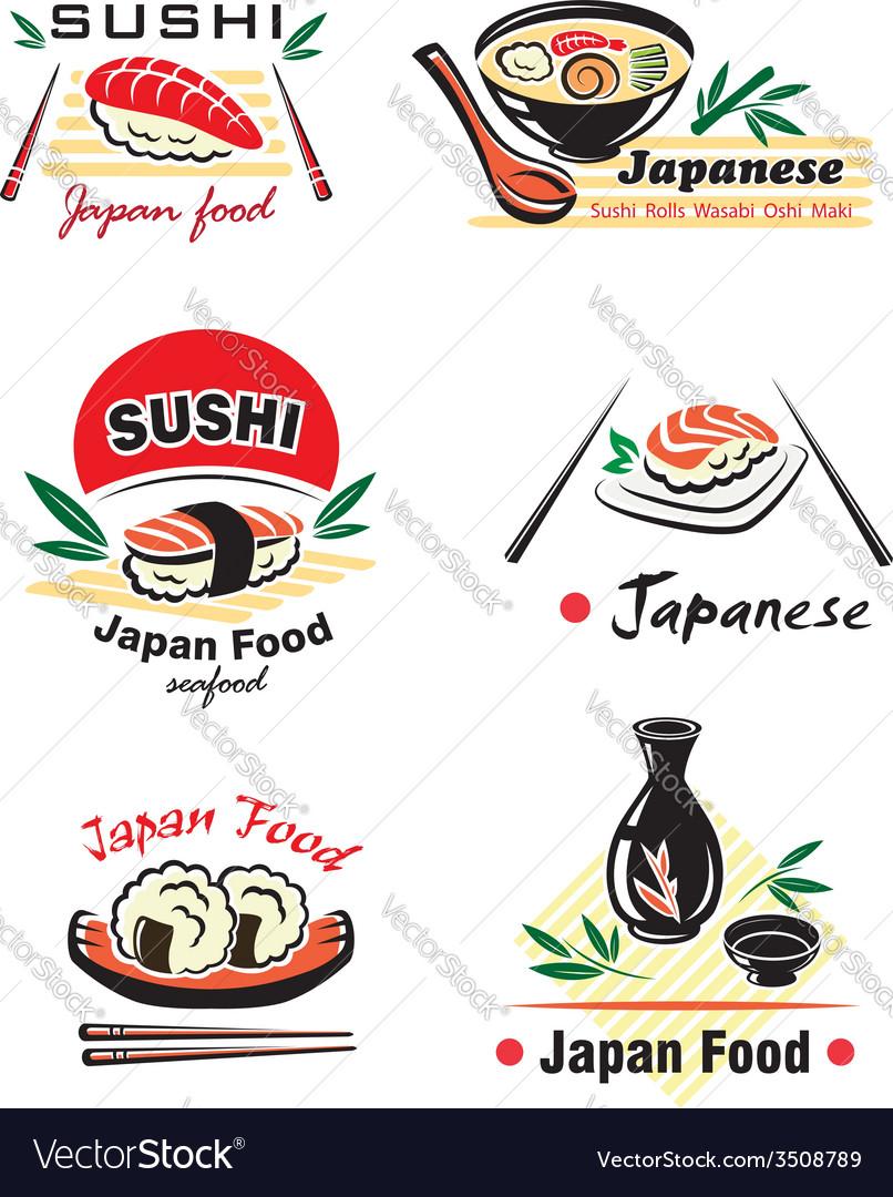 Japanese sushi seafood emblem or logo designs set