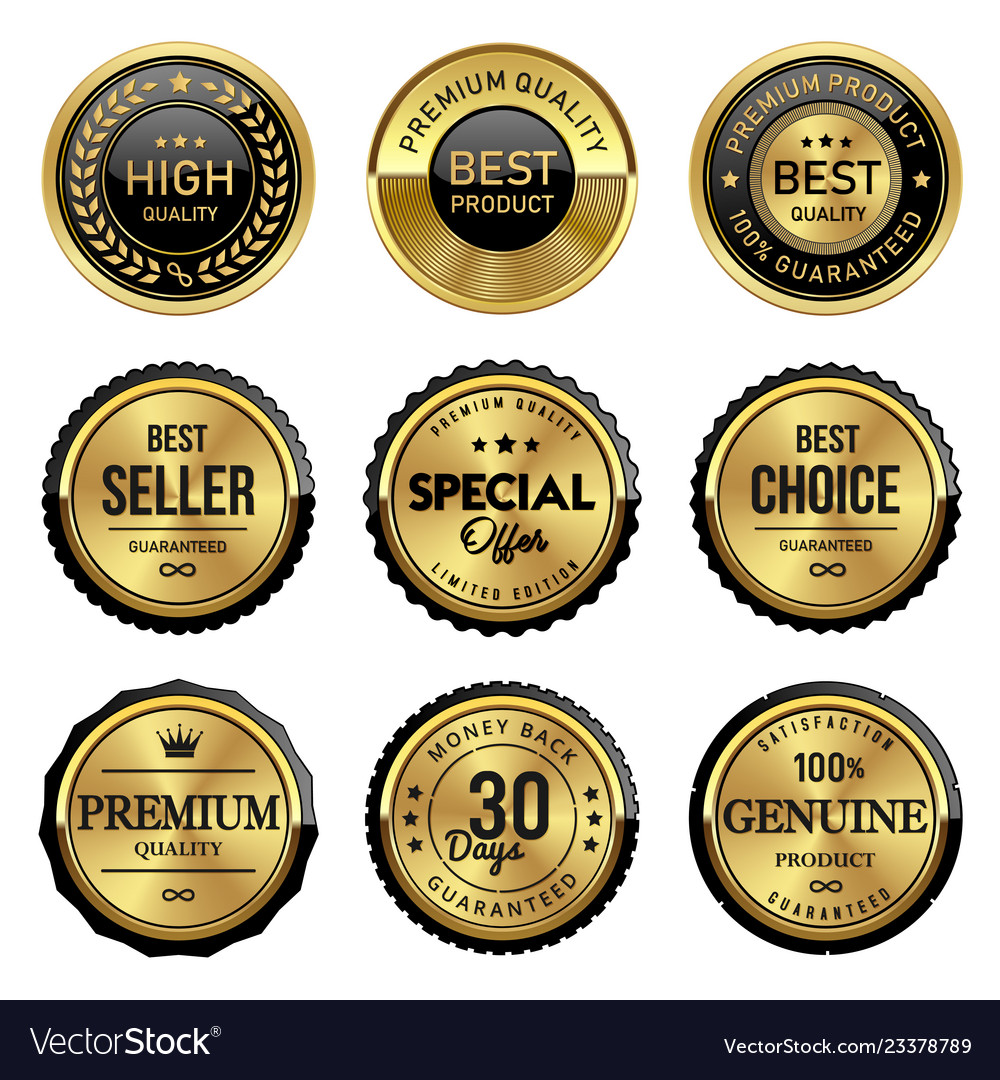 Luxury gold quality labels vector