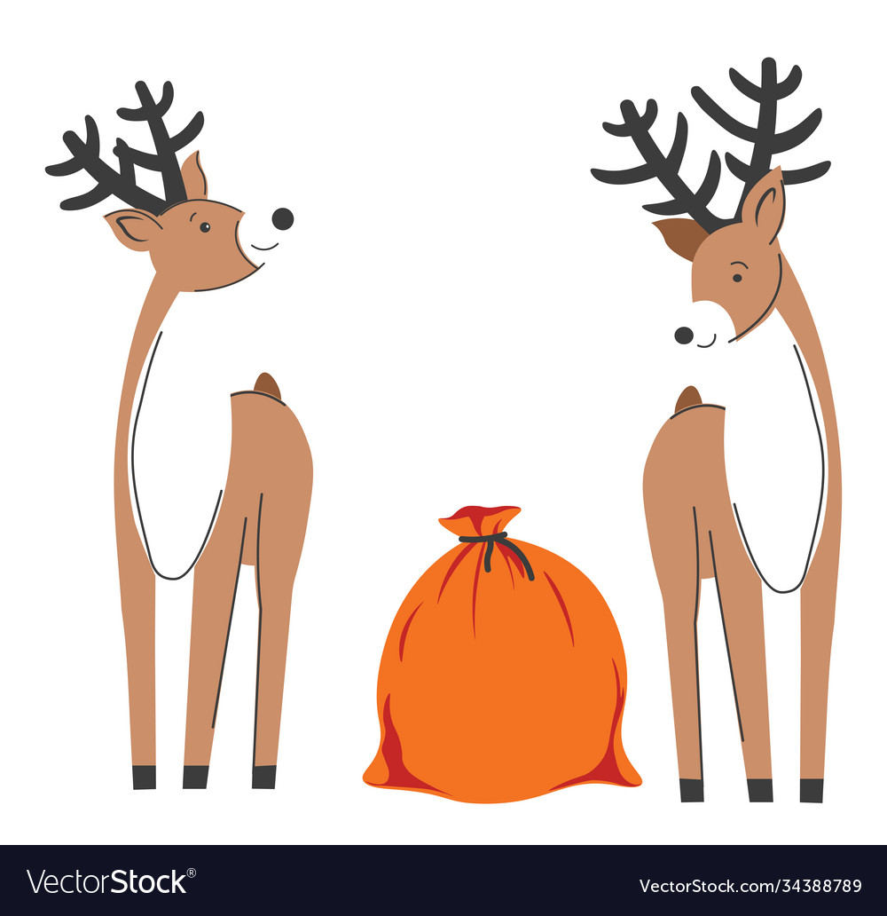 Reindeers with sack presents christmas time