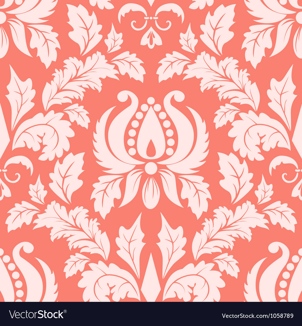 Vintage damask seamless salmon pattern vector image