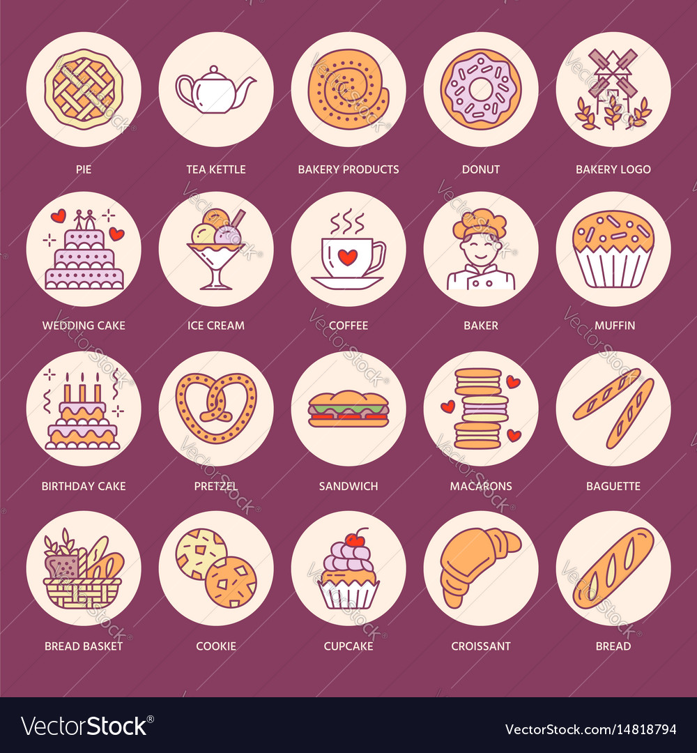 Bakery confectionery flat line icons sweet shop
