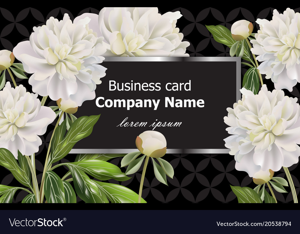 Business card with white peony flowers royalty free vector business card with white peony flowers vector image mightylinksfo
