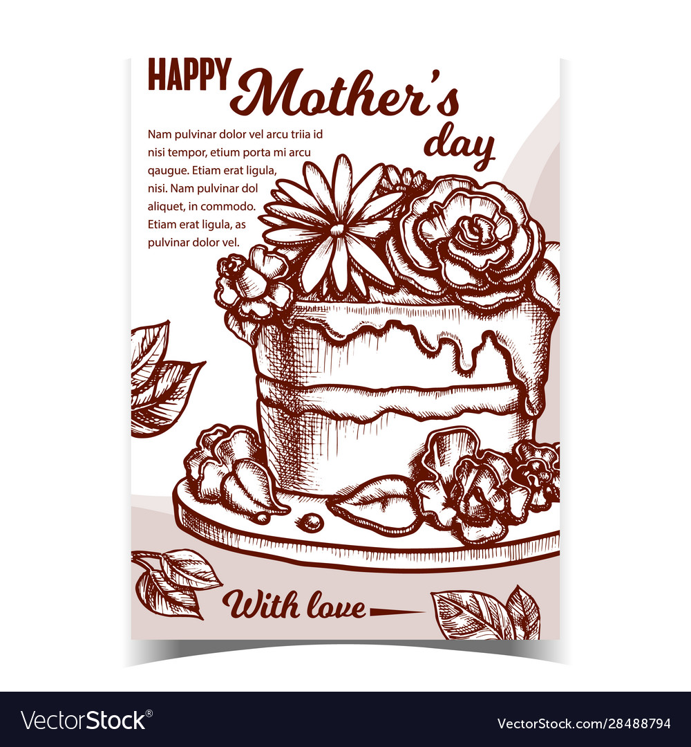 Cake with flowers for mother day banner