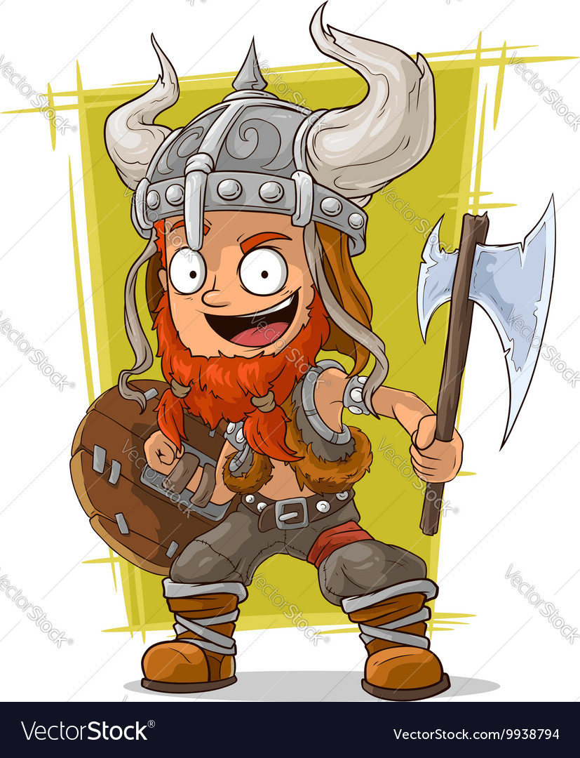 Cartoon redhead viking warrior vector image