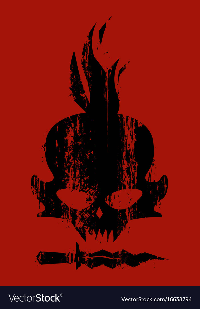 Concept design card black skull vector image