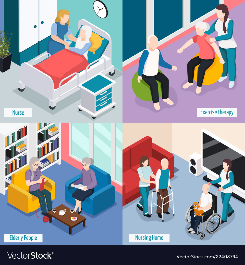 Elderly People Isometric Concept
