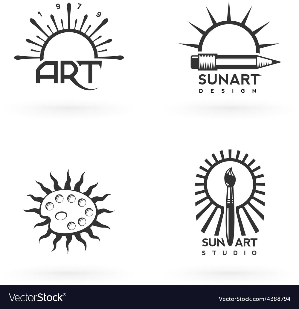 Four emblems of art and sun combination