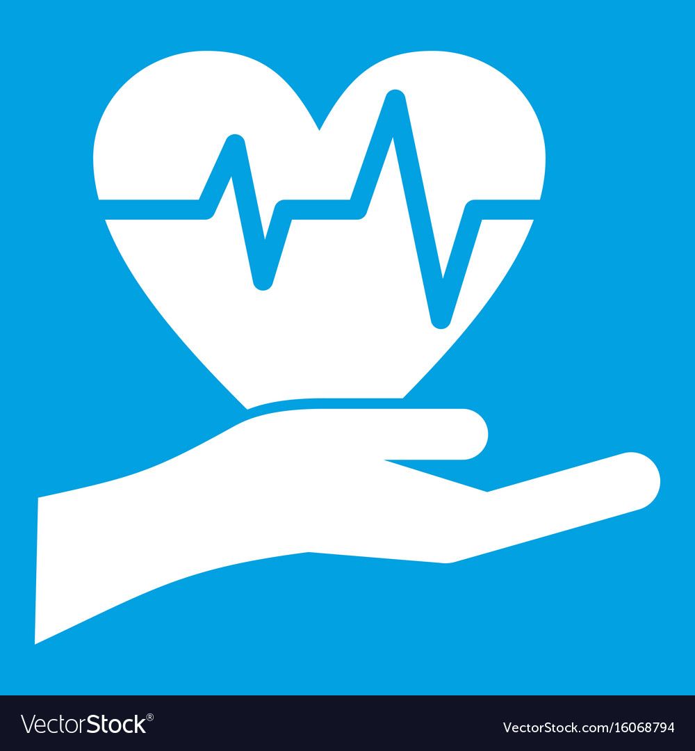 Hand holding heart with ecg line icon white vector image