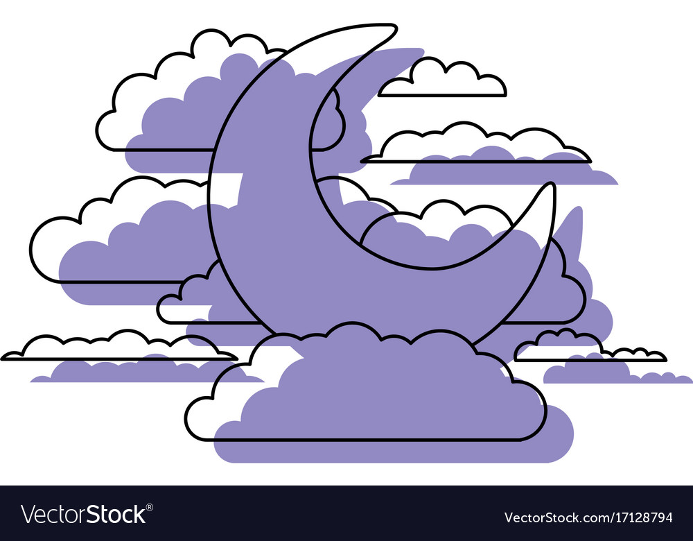 Moon and clouds in night landscape purple
