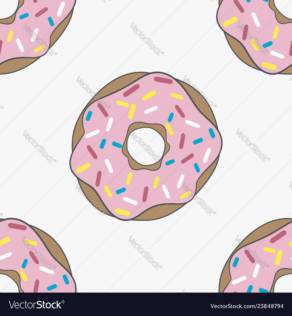 Seamless pattern donut with pink glaze