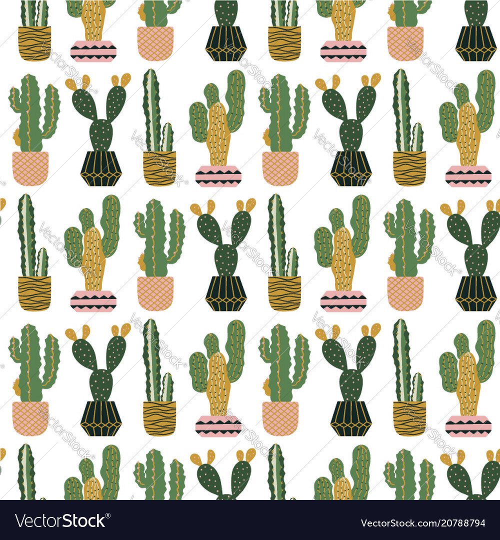 Seamless pattern with cacti in pots scandinavian