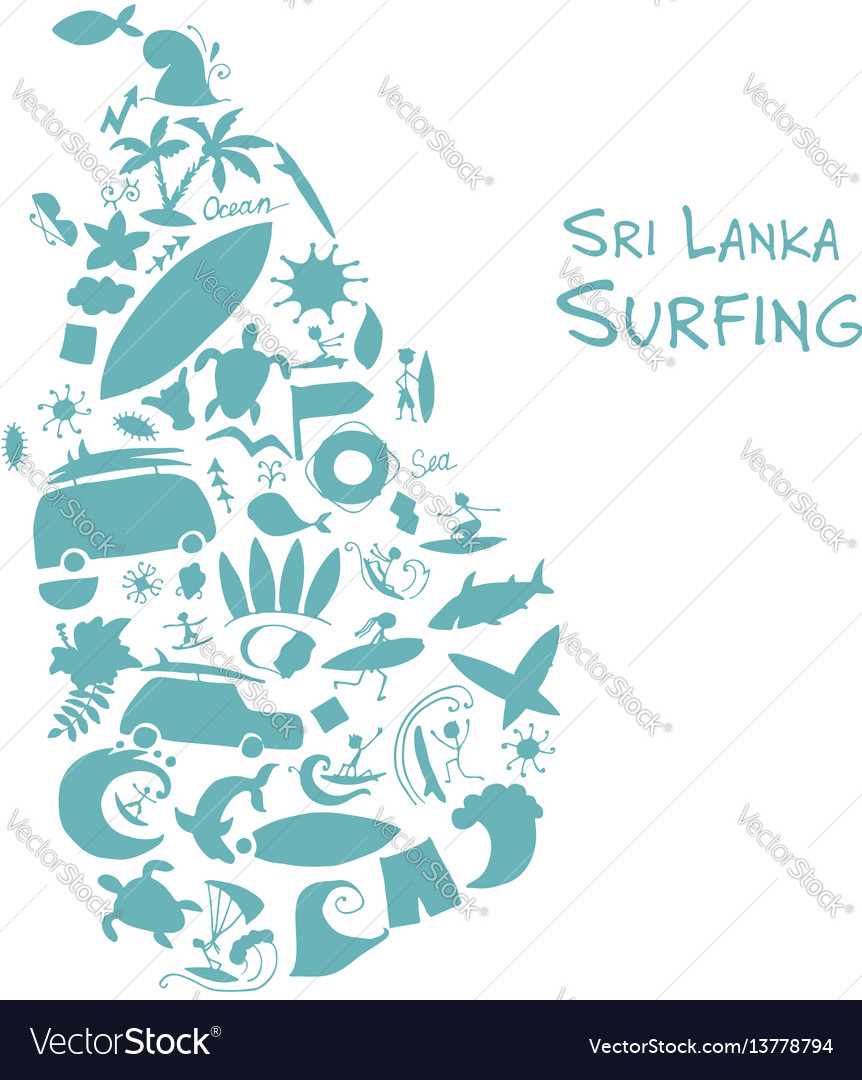 Sri lanka surfind design made from surf icons