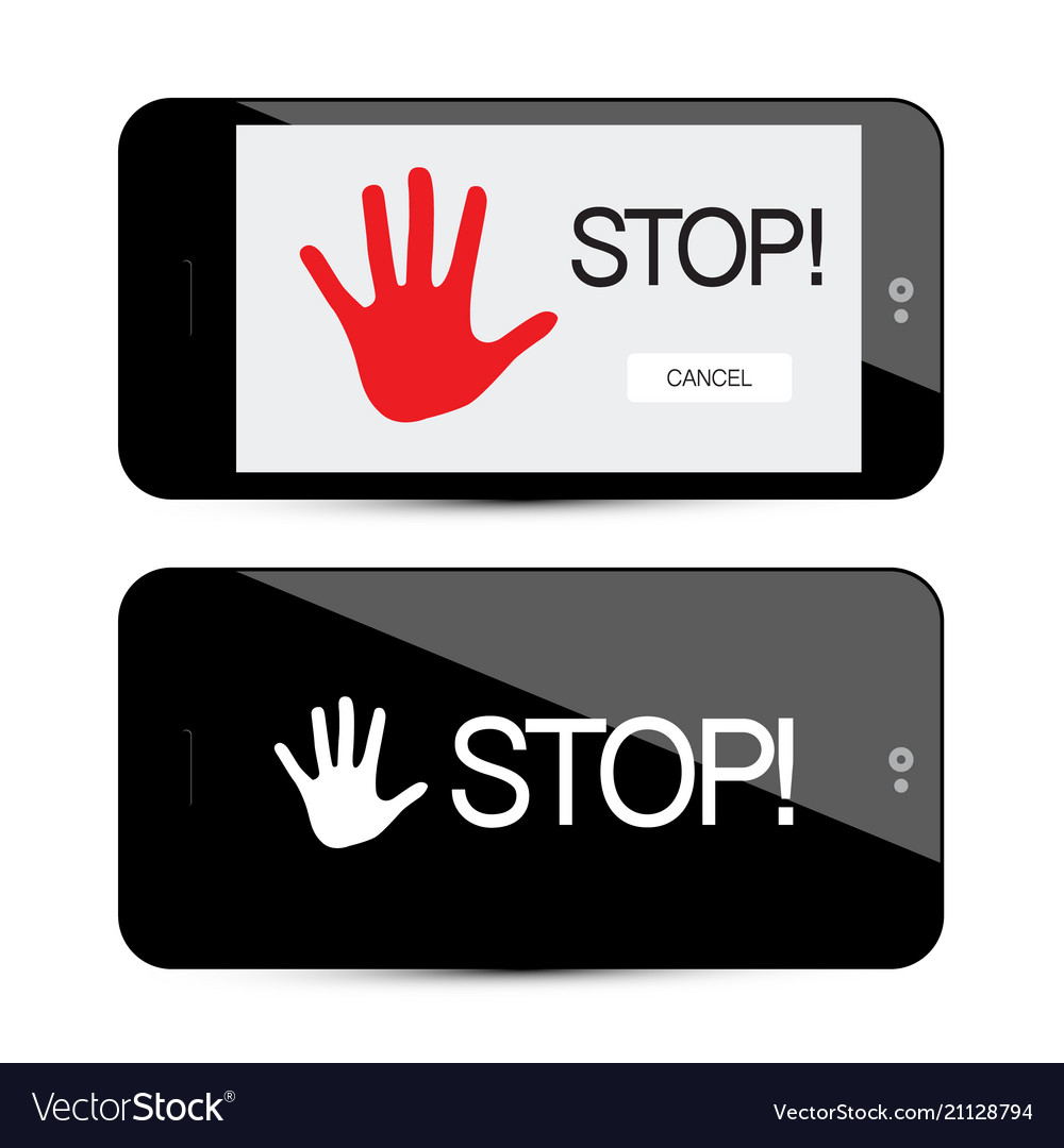 Stop symbol with palm hand on mobile phone device