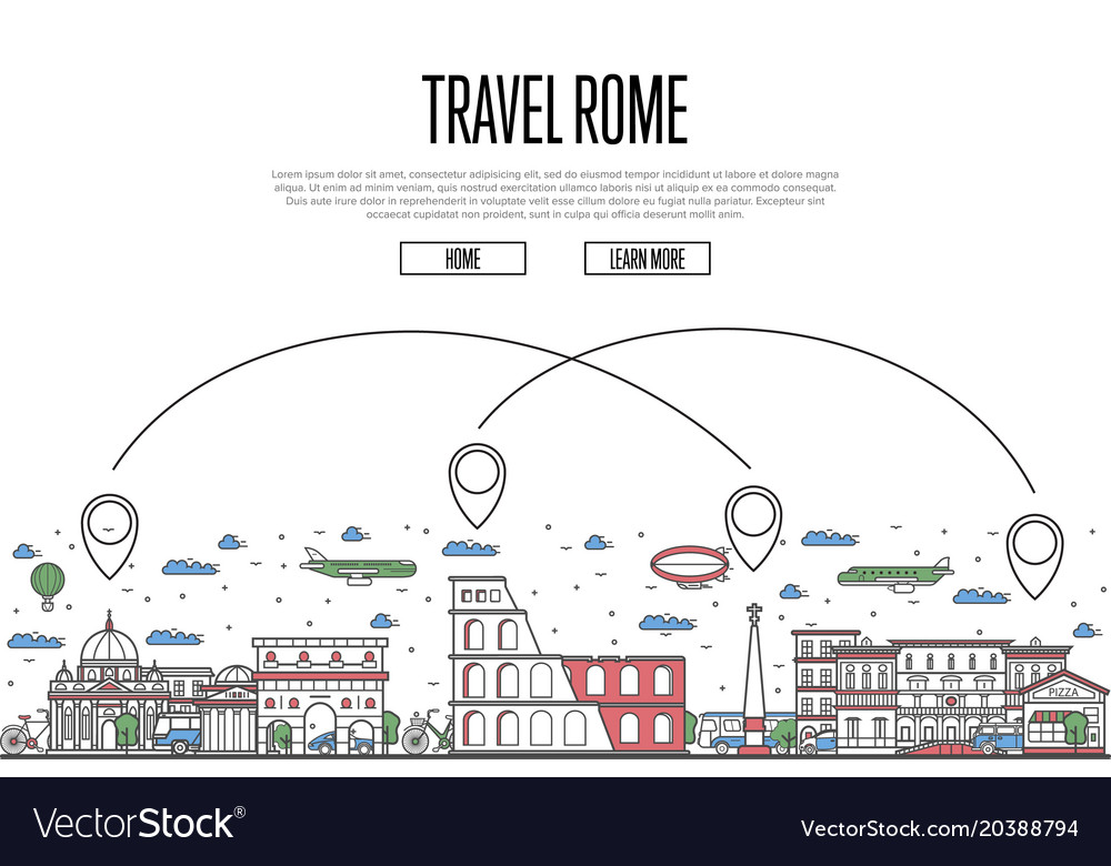 Travel rome poster in linear style