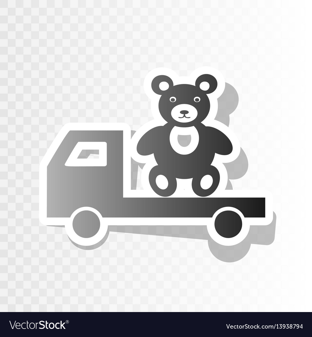 Truck with bear new year blackish icon on vector image