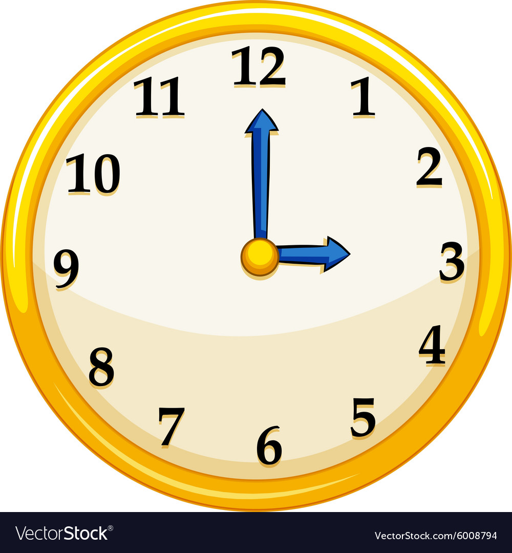 Yellow round clock with blue needles vector image