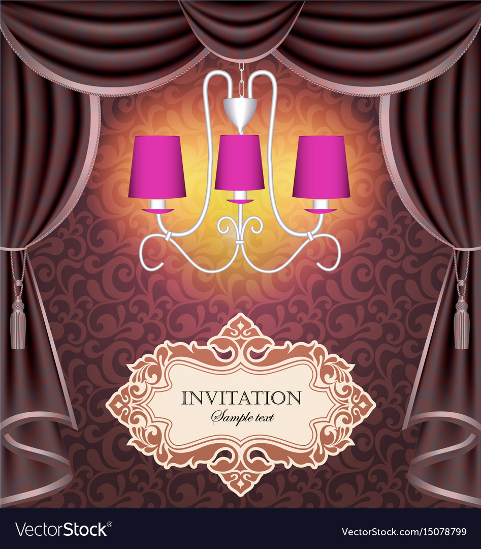 Background with curtains and chandelier