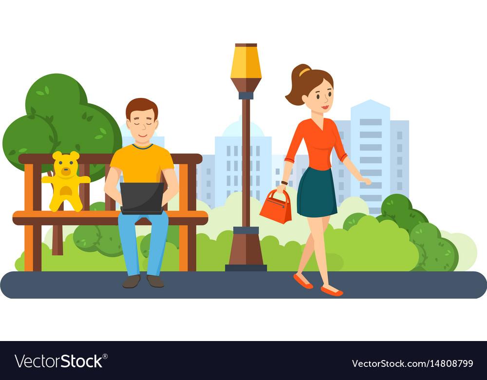 Guy running on freelance girl go with handbag