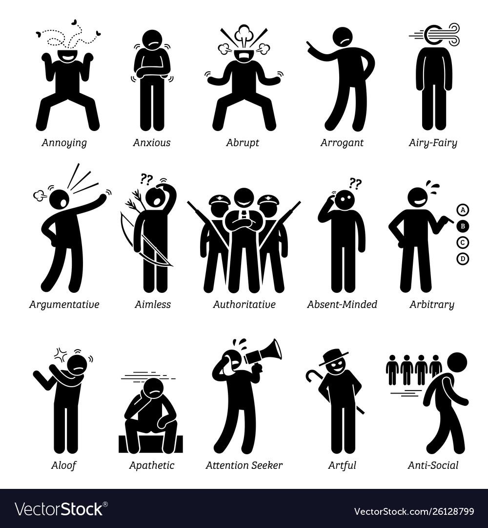 Negative bad personalities character traits stick